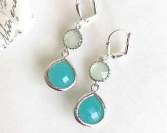 SALE - Small Turquoise Teardrop and Mint Drop Dangle Earrings in Silver. Bridesmaids Jewelry. Glass Drop Earrings. Dangle Earrings. Gift.