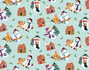 Benartex. Happy Holidays Gingerbread House  Light Teal - BTY Cotton Fabric - Choose your cut