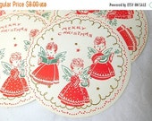 ON SALE Vintage 60s Christmas Coasters Paper set of 9 Angels Music Red White Green Sweet Memorabilia