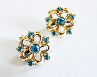 Scatter Pins Flowers Gold and Aquamarine 50's Mid Century Petite Collar Jacket