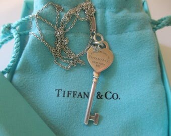 Tiffany & Co. Sterling Please Return to Tiffany Key Necklace Box Bag