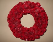 """Valentines Day, book page wreath, book page flower wreath, 10 """" wreath, repurposed book pages, book lover, wreath, red"""