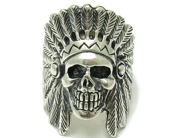 Sterling silver  indian skull ring solid 925 biker pendant