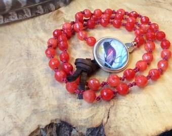 Red-Winged Blackbird Bracelet ~handmade knotted art jewelry~ Blackbird jewelry gift for her~original Blackbird art