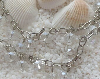 Faceted Glass Abacus AB Drop Bead Chain - Platinum Plated Eyepins - 1 Meter Length (39 inches) - CHOICE OF 1 pc or 2 pc