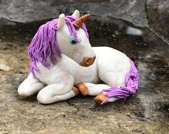 Fairy Garden Fantasy Unicorn OOAK polymer clay original
