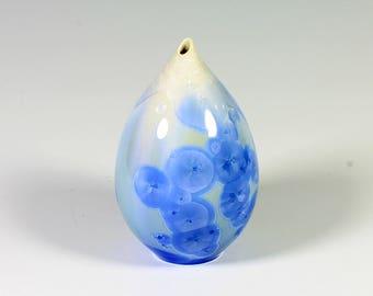 Sunny Blue Crystalline Glazed Bud Vase