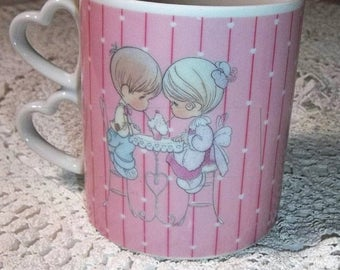 ETSYONSALE Precious Moments mug vintage 1988 Nothing's Sweeter than a Friend pink hearts ice cream parlor Butcher Enesco