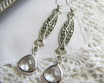 Art Nouveau Jewelry Vintage Rhinestone Earrings Art Deco Earrings Art Nouveau Earrings 1920's Earrings Downton Abbey Great Gatsby Jewelry