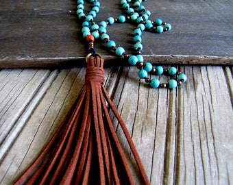 Long Tassel Necklace Boho Necklace Turquoise Boho Jewelry Beach Jewelry Boho Chic Necklace Bohemian Necklace Summer Jewelry Casual Necklace
