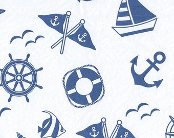 Nautical Tissue Paper, Anchors boats,l, 10 Sheets , DIY Wedding Decor | Gift Wrap . Craft Supplies | DIY Pom Pom Supplies