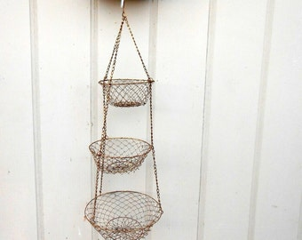 Vintage three tier hanging wire basket brass wire mesh hanging basket 32 inch hanging baskets french wedding cottage rustic crusty wedding