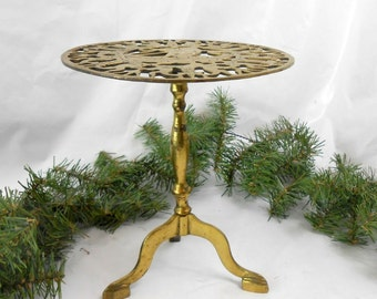 Vintage solid brass plant stand brass footed plant stand footed brass stand wedding bridal shower Asian decor Feng Shui strong male energy
