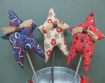 Primitive Star Plant Pokes - Americana Stars - Set of 3 - Crock Pokes - Patriotic Fabric Grungy - Americana Home Decor - July 4th