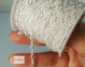 20 feet silver plated brass flat cable  chain-handmade jewelry must-have-F188yin