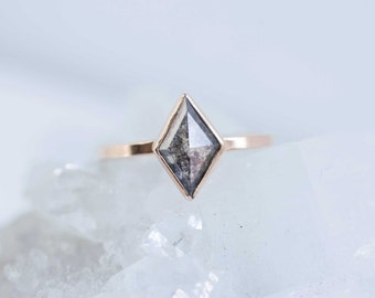 Geometric Kite Diamond Ring | 14k Recycled Gold | Engagement Ring | One of a Kind