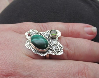 Special Sale, Adorable Green Malachite and Peridot Ring, Size 8 US, 925 silver, One of a Kind