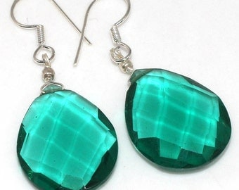 Prom Special Sale, Very Beautiful Emerald Color Quartz Earrings, 925 Silver