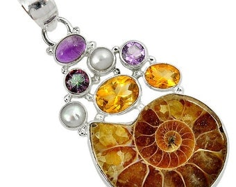 Elegant and Very Beautiful Ammonite, Citrine, Amethyst, Mystic Topaz and River Pearl Pendant, 925 Silver, With Suede Cord