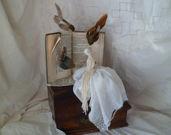 Assemblage altered book Thumbelina by Hans Christian Anderson