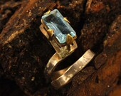 Bohemian Aquamarine Ring, March Birthstone, Cocktail Ring, Large Clear Gem Ring, Boho square stone ring, Rustic Brass & Hammered Silver Ring