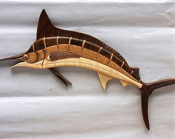 Hardwood Marlin Intarsia Wall Art