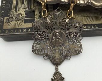Religious Necklace Jesus Necklace Vintage assemblage necklace repurposed necklace religious medal