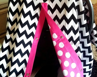 Carseat Canopy Chevron Hot Dot carseat cover  READY TO SHIP