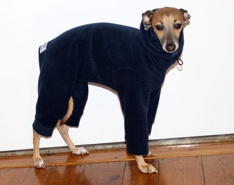 ONE only - Ready to ship size SMALL standard Italian Greyhound Navy Snood Snowsuit / Jammies  - scroll down for size measurements