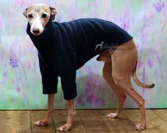Plain Colour Fleece Two Legged Italian Greyhound Sweater with Turtle / Polo Neck (measurements essential) various colours available