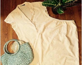 Tan Eyelet Spring Skirt Set