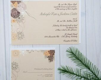Winter Wedding Invitation Set   Fir Tree Branches and Pine Cones   Christmas Wedding Invitations   January Wedding Invite Suite   Sample