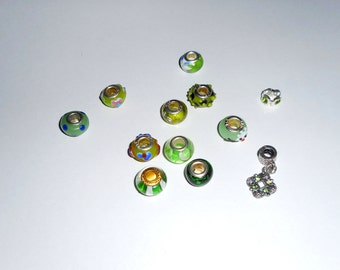 12 Green Large Hole Euro Style Beads ... Shades of Green, Everything Shown, As Shown ... Pandora Style, Euro Beads .. Beads for DIY Projects