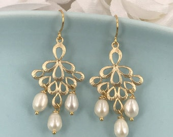 Freshwater Pearl and Matte Gold Filigree Bridal Earrings