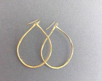 Gold Teardrop Earrings. Gold Teardrop Hoops. Gold Earrings. Gold Vermeil Earrings.Gold Vermeil Teardrop Earrings.Minimal.Valentines Day Gift