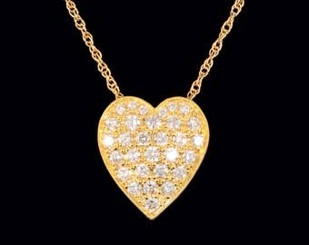 14k Yellow Gold Heart with .75 ct SI1 G-H Diamonds Pendant or Necklace (Optional Chain)