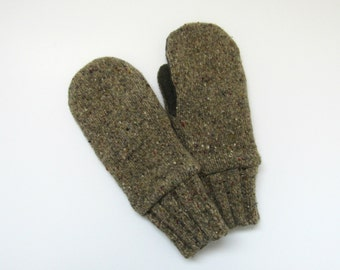 Mens Recycled Wool Mittens Fleece Lined Olive and Khaki Tweed Felted Wool Sweater Mittens