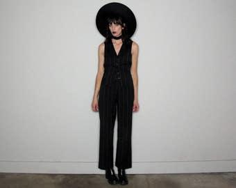 PIN STRIPE Vest TOP 90s Womens Vintage Black White Size M