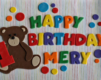 Fondant Teddy Bear, Polka Dot and Happy Birthday Message Cake Decorations Perfect for a Birthday Cake