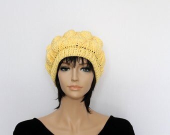 Yellow Hat Hand Knit Beret Womens Crocheted Hat