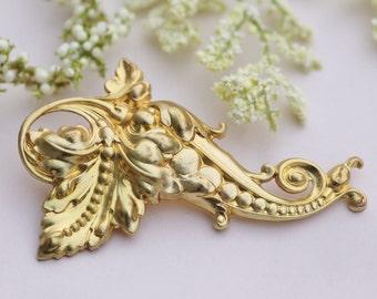 NEW Golden Baroque Scroll Hair Barrette,Large Scrolling Metal Leaf Hair Clip,Large,Vintage Style,Art Nouveau,Gift For Her,Bridal,Understated