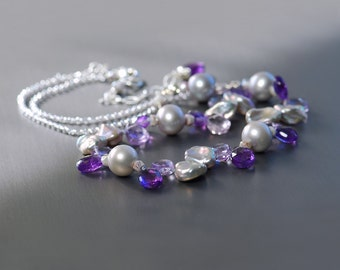 Amethyst, Pearl Silver Necklace by Agusha. Multi Gemstone and Pearl Choker. Pearl Necklace. Purple Gemstone Necklce