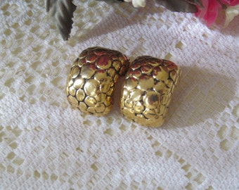 Vintage Givenchy Paris New York Clip Earrings Gold Tone Nugget Style