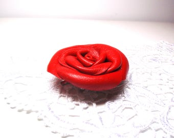 3rd unniversary gift -Red Rose chocker-Leather rose chocker -Flower chocker -leather choker necklace -Handcrafted choker