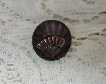 Antique Pearl Button Small Carved Fan with Metal, Intricate