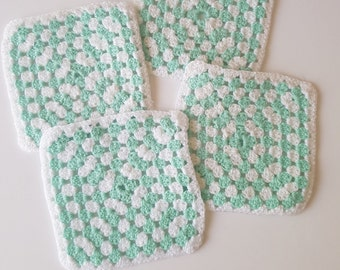 Vintage Style Crochet Coasters - Sets of 4!  Choose your fav colour combo