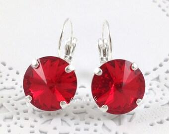 RUBY Red Earrings // Siam Hot Red 12mm Swarovski Crystal Leverback Earrings // July Birthstone Nickel Free Silver Drop Earrings