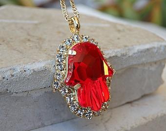 Protection necklace, Evil Eye Necklace, Hamsa Pendant, Red Ruby Swarovski Necklace, Ruby jewelry, Hand Of Fatima Necklace, Islamic Jewelry