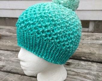 Knit Hat, Wool Hat, Hand Knit Hat, Winter Hat, Pom-Pom Hat