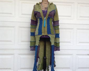 Pixie duster, Petite cardigan, long sweater coat, katwise inspired, up cycled, eco couture hoodie, handmade Altered couture